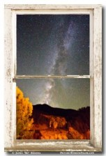 Autumn Milky Way Night Sky Rustic Window View