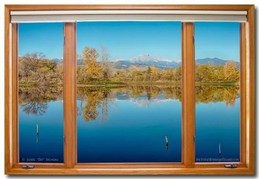 Colorado Longs Peak Waterfront Reflections Wood Window View 32″x48″x1.25″ Premium Canvas Gallery Wrap