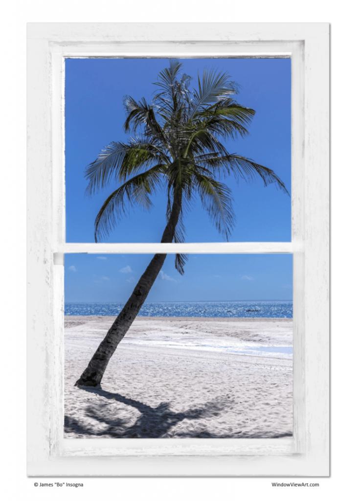 White Sand Beach Window View Art