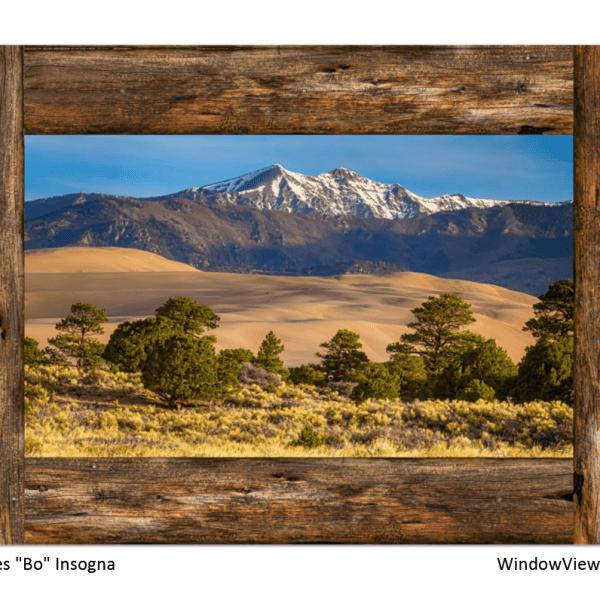 Colorado Great Sand Dunes Rustic Wood Window View 32″x48″x1.25″ Premium Canvas Gallery Wrap