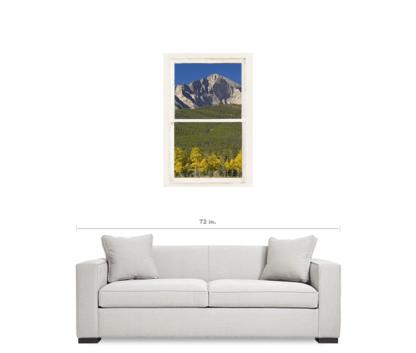 Golden Longs Peak View Through White Rustic Distressed Window 24″x36″x1.25″ Premium Canvas Gallery Wrap