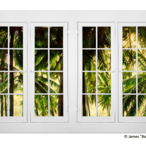 Autumn Creek 18 Pane White Picture Window  View 32″x48″x1.25″ Premium Canvas Gallery Wrap Art