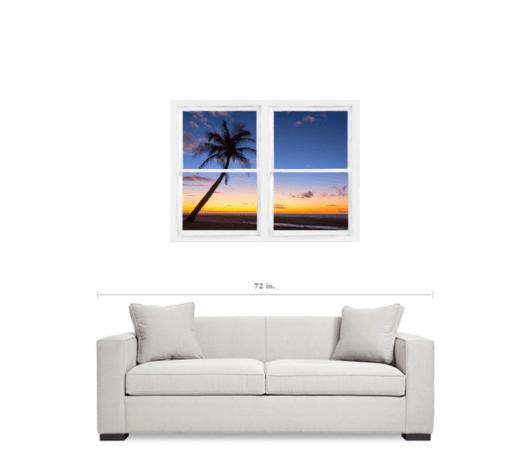 Tropical Paradise Colorful Sunset Whitewash Window View 30″x40″x1.25″ Premium Canvas Gallery Wrap