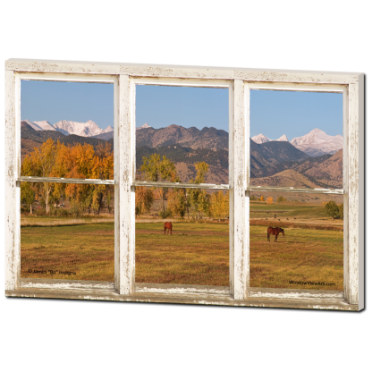 Colorado Horses Autumn Mountain Peaks Rustic Window View 32″x48″x1.25″ Premium Canvas Gallery Wrap