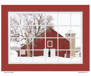 red window views art