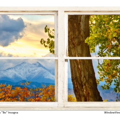 Colorado Rocky Mountains Rustic Window View 32″x48″x1.25″ Premium Canvas Gallery Wrap