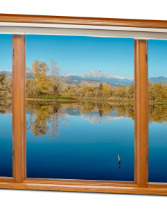 "Colorado Longs Peak Waterfront Reflections Wood Window View 32""x48""x1.25"" Premium Canvas Gallery Wrap"