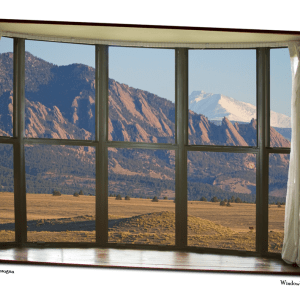 Rocky Mountains Flatirons with Snow Longs Peak Bay Window View 32″x48″x1.25″ Premium Canvas Art Gallery Wrap