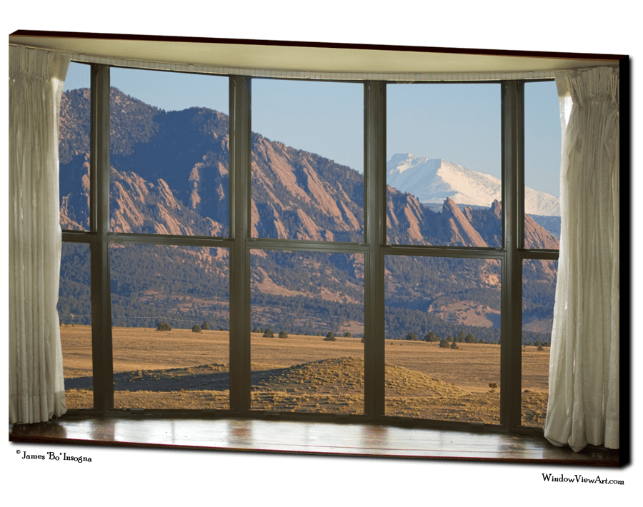 "Rocky Mountains Flatirons with Snow Longs Peak Bay Window View 32""x48""x1.25"" Premium Canvas Art Gallery Wrap"