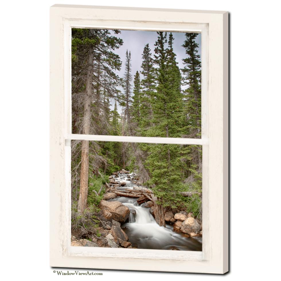 "Rocky Mountain Stream View Through White Rustic Whitewashed Window  24""x36""x1.25"" Premium Canvas Gallery Wrap"