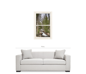 "Rocky Mountain Stream View Through White Rustic Whitewashed Window 24""x36""x1.25"" Premium Canvas Gallery Wrap Art"