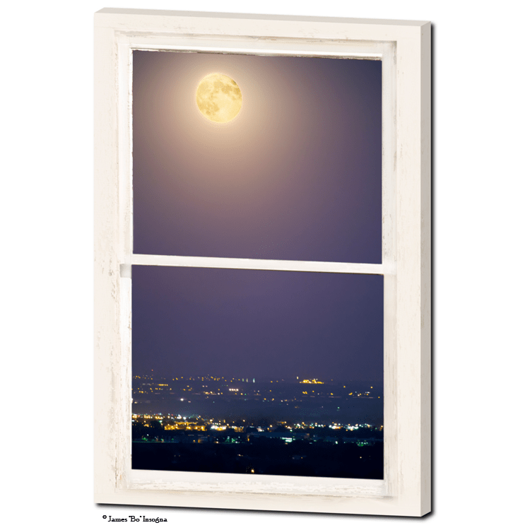 "Super Moon Over City Lights View Through Whitewashed Rustic Window 24""x36""x1.25"" Premium Canvas Gallery Wrap Art"