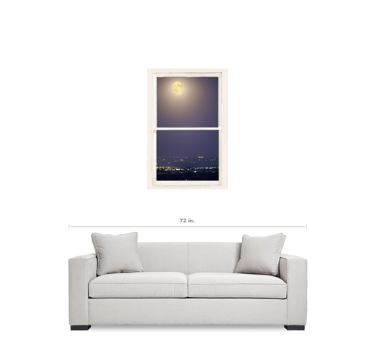 Super Moon Over City Lights View Through Whitewashed Rustic Window 24″x36″x1.25″ Premium Canvas Gallery Wrap Art