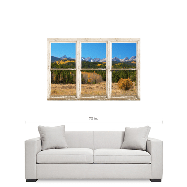 High Elevation Rocky Mountain Peaks White Rustic Window Art 32″x48″x1.25″ Premium Canvas Wrap
