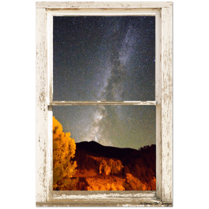 Autumn Milky Way Night Sky Rustic Window View 24″x36″x1.25″ Canvas Wrap Art