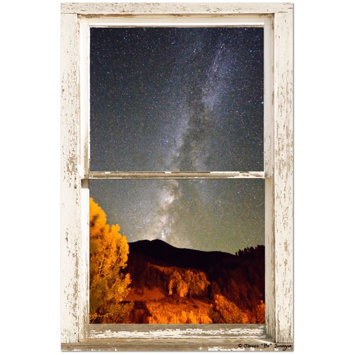 "Autumn Milky Way Night Sky Rustic Window View 24""x36""x1.25"" Canvas Wrap Art"