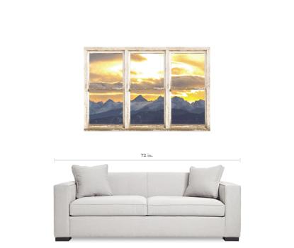 Rocky Mountain Golden Sunset White Rustic Farm House Window View 32″x48″x1.25″ Canvas Wrap Art