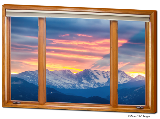 Colorado Rocky Mountain Sunset Waves Pt 1 Classic Wood Window View 32″x48″x1.25″ Canvas Wrap Art