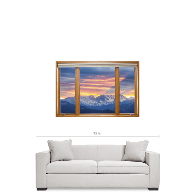 "Colorado Rocky Mountain Sunset Waves Classic Wood Window 24""x36""x1.25"" Canvas Wrap Art"