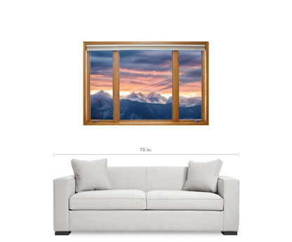 Rocky Mountain Peaks Sunset Waves Classic Wood Window View 2 – 32″x48″x1.25″ Canvas Wrap Art