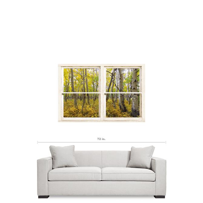 "Glorious Golden Forest Window View 32""x48""x1.25"" Premium Canvas Wrap Art"