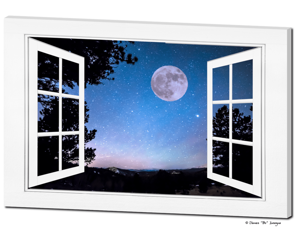 "Starry Night Full Moon Open White Picture Window Art View  32""x48""x1.25"" Canvas Wrap"