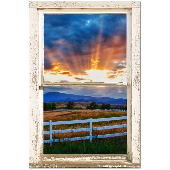 "Country Beams Of Light Farmhouse Picture Window Portrait View  Art 24""x36""x1.25"" Premium Canvas Gallery Wrap"