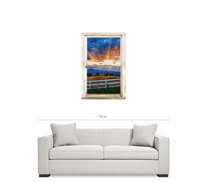 "Country Beams Of Light Farmhouse Picture Window Portrait View  Art 24""x36""x1.25"" Premium Canvas Gallery Wrap"