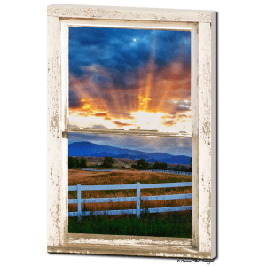 Country Beams Of Light Farmhouse Picture Window Portrait View  Art 24″x36″x1.25″ Premium Canvas Gallery Wrap