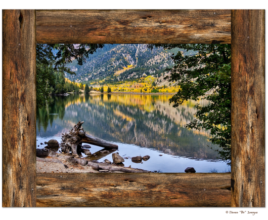 Cottonwood Mountain Lake Rustic Cabin Window View Art 30″x40″x1.25″ Premium Canvas Gallery Wrap