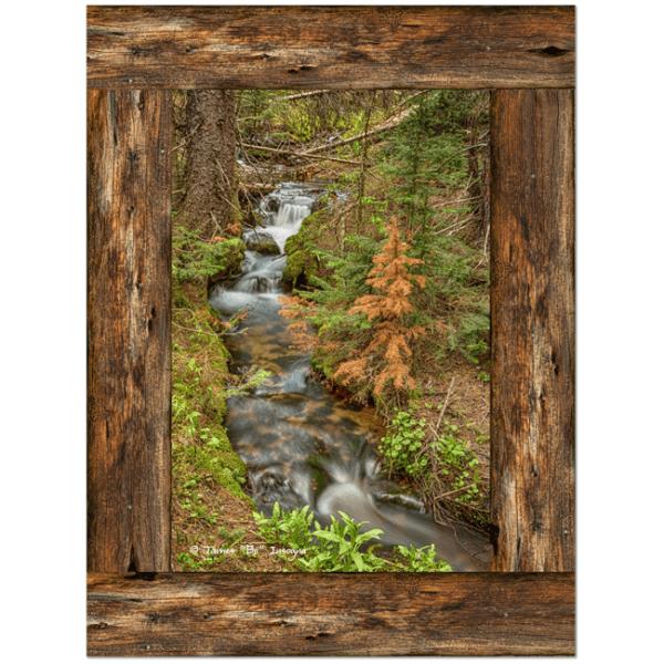 Rustic Cabin Window Forest Creek View 30″x40″x1.25″ Premium Canvas Gallery Wrap Art