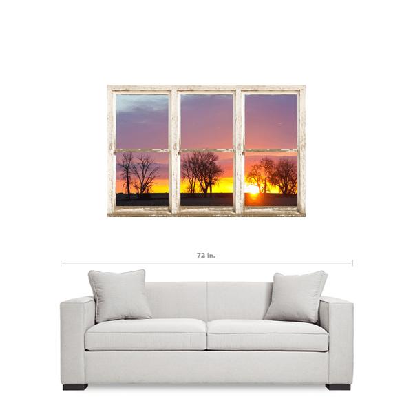 Colorful Morning White Rustic Farmhouse Window View 32″x48″x1.25″ Premium Canvas Wrap Art