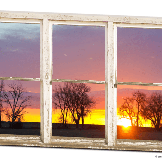 Colorful Morning White Rustic Farmhouse Window View 32″x48″x1.25″ Premium Canvas Wrap Art