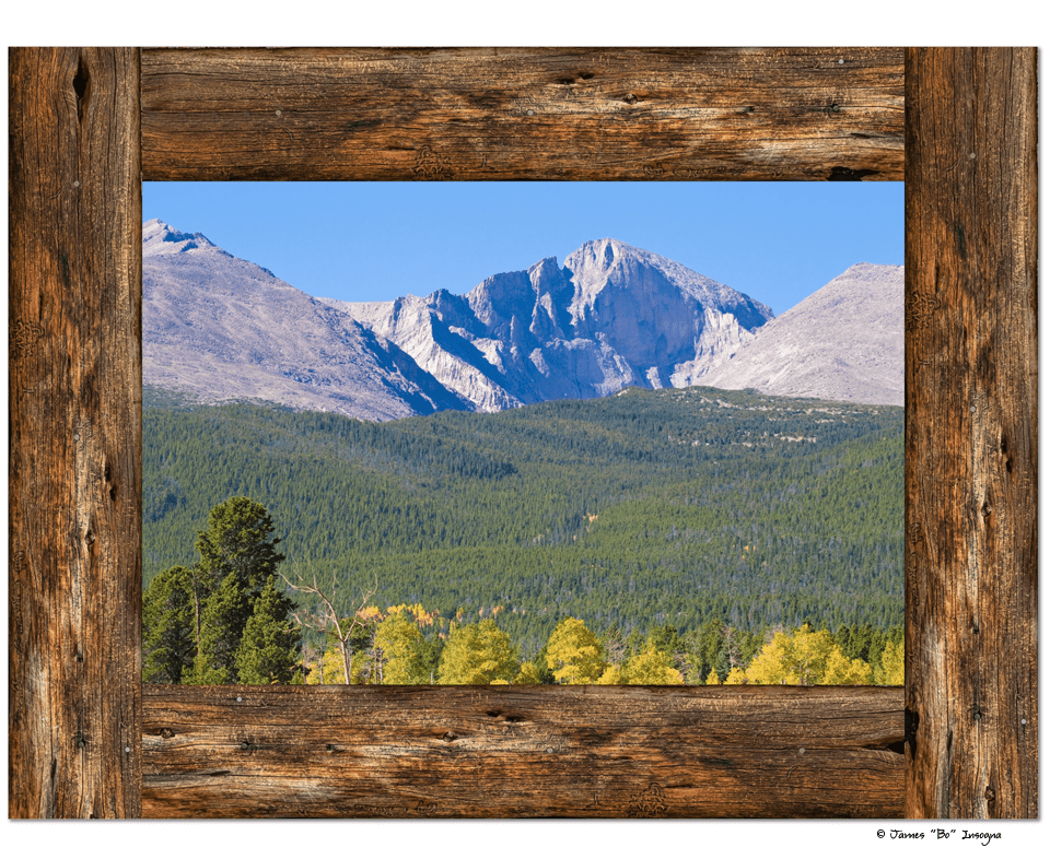 "Colorado Longs Peak Rustic Wood Window View Art 30""x40""x1.25"" Canvas Gallery Wrap"