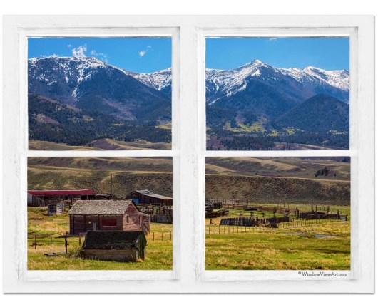 Colorado Cattle Ranch Whitewash Farmhouse Window View 30″x40″x1.25″ Canvas Art