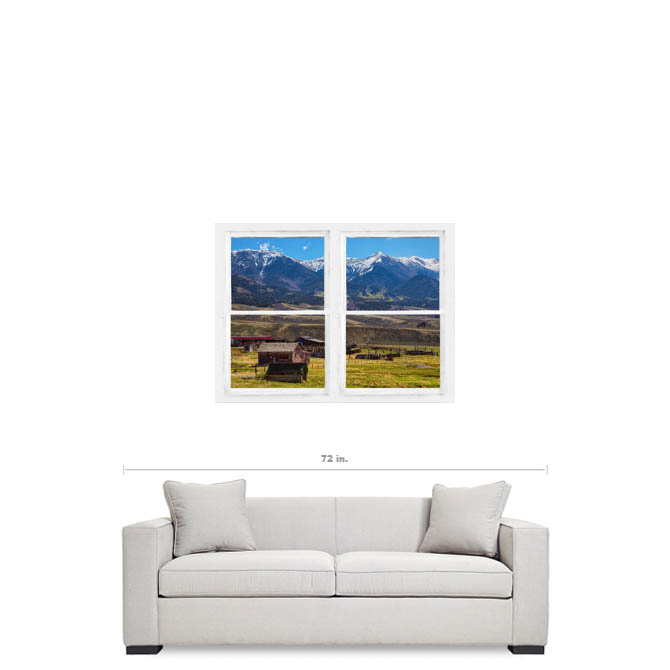 Colorado Cattle Ranch Whitewash Farmhouse Window View Art Canvas Gallery Wrap