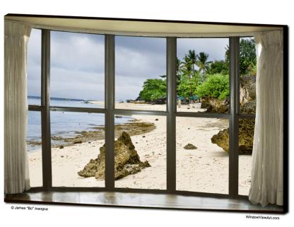Beach Bay Window View 32″x48″x1.25″ Canvas Gallery Wrap
