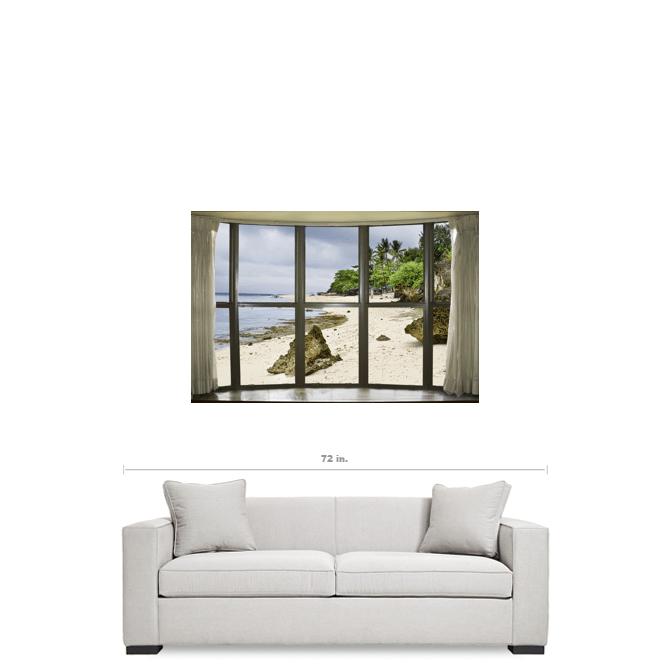 """Beach Bay Window View 32""""x48""""x1.25"""" Canvas Gallery Wrap"""
