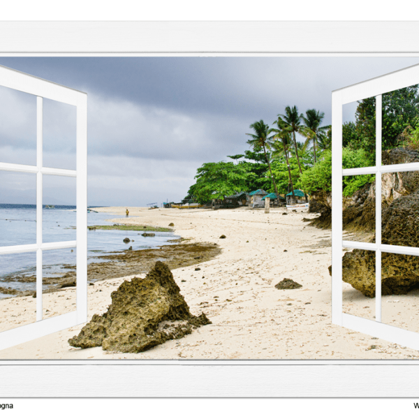 Ocean Front Beach Open White Picture Window Frame View 32″x48″x1.25″ Canvas Gallery Wrap