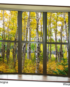 Autumn Forest Bay Window View 32 x48x1.25 Premium Canvas Gallery Wrap Art
