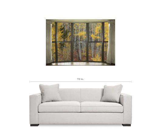 Autumn Forest Red Wilderness Floor Bay Window View 32″x48″x1.25″ Premium Canvas Gallery Wrap