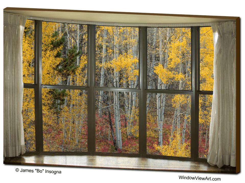 Autumn Forest Red Wilderness Floort Bay Window View