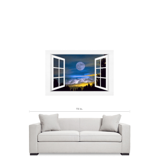 Magical Moon Night Layers Open White Picture Window Frame Art View 32×48 Premium Canvas Gallery Wrap