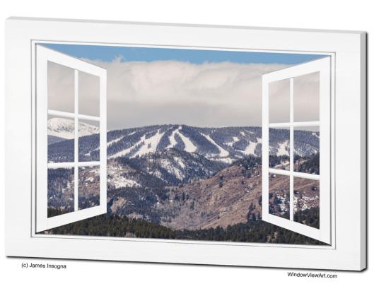 Ski Slopes Open White Picture Window Frame Art View 32x48x1.25 Premium Canvas Gallery Wrap