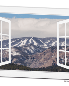 Ski Slopes Open White Picture Window Frame Art View 32x48x1.25 Premium Canvas Gallery Wrap