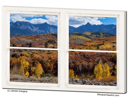 Colorful Autumn San Juan Mountains Whitewashed Window View 32x48x1.25 Canvas Gallery Wrap