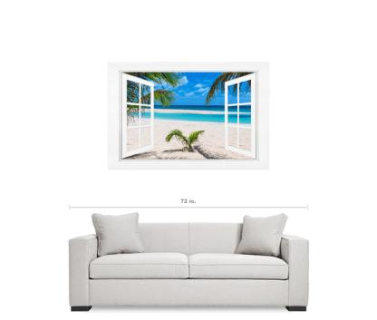 White Sand Beach Ocean Side Open Picture Window Frame Art View 32×48 Premium Canvas Gallery Wrap