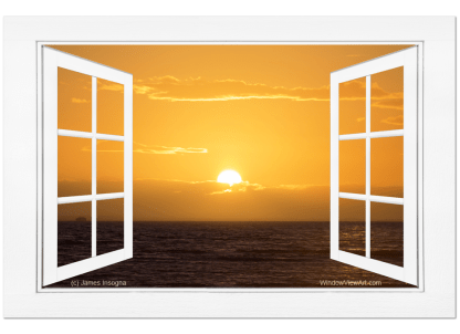 Golden Ocean Sunset Open Picture Window Frame Art View 32×48 Premium Canvas Gallery Wrap