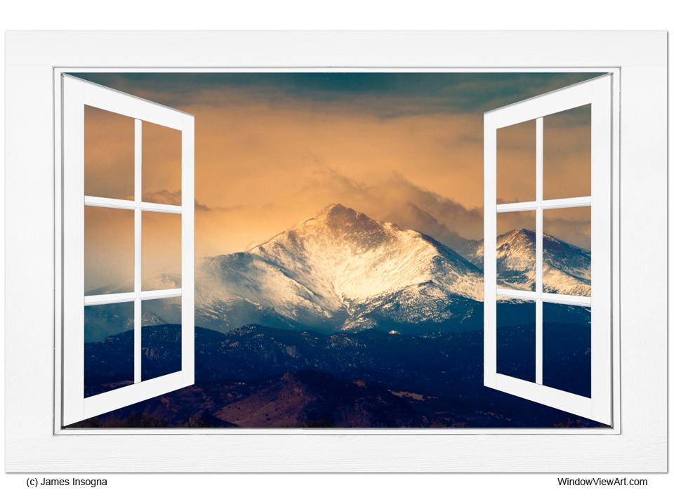 Majestic Twin Peaks Open White Picture Window Frame Art View