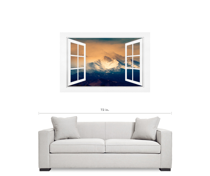Majestic Twin Peaks Open White Picture Window Frame Art View